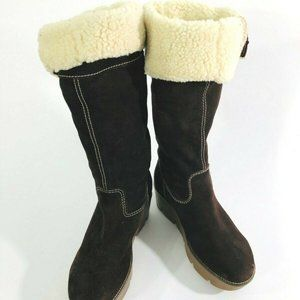Michael Kor's Boots Hill Suede Brown Wedge 8 1/2